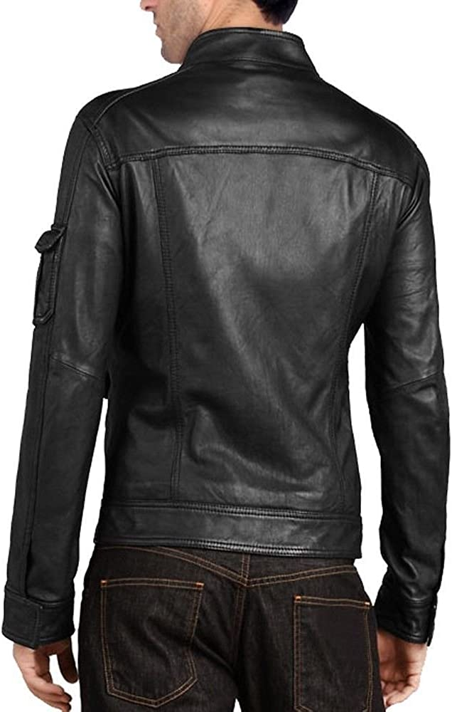brandMe Mens Genuine Leather Pure Lambskin Biker Jacket MM157