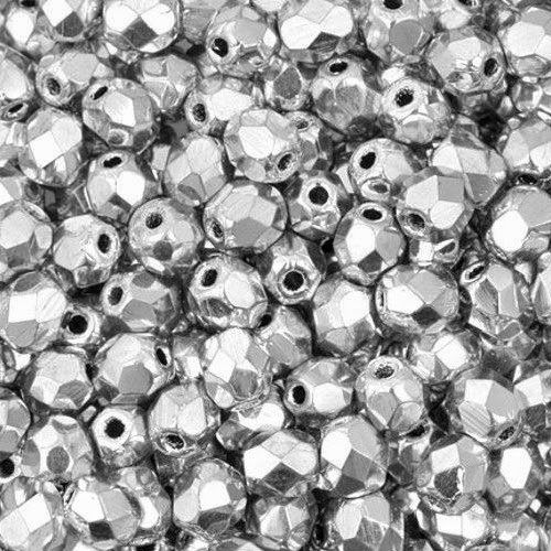 ROUND FACETED GLASS FIREPOLISH BEADS 4mm METALLIC COLOR CHOICE 100pc FREE SHIPPING (Silver Firepolish Round Beads)