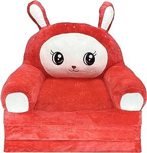 Plush Foldable Kids Sofa Backrest Chair Cute Cartoon Lazy Sofa Infant Toddler Kids's Flip Open Sofa Bed for Living Room Bedroom (Rabbit Red)