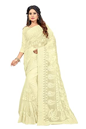 fdc259d7d8 Vaankosh Fashion Women's Embroidered and Mirror Work Beige Net Saree with Blouse  Piece: Amazon.in: Clothing & Accessories