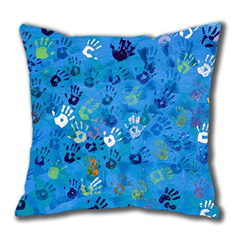 Handprint Art Easter Thanksgiving Personlized Thanksgiving Easter Masterpiece Limited Design Cotton Square Pillow Case by Cases & Mousepads