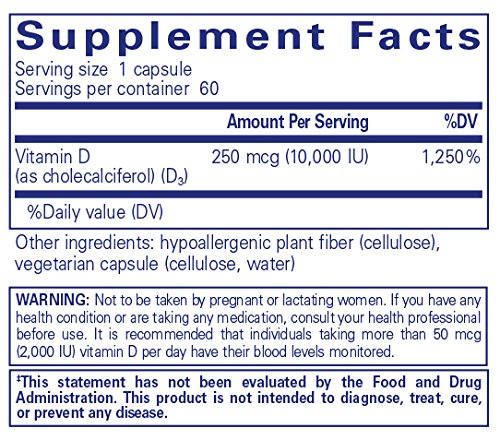Amazon.com: Pure Encapsulations - Vitamin D3 10,000 IU - Hypoallergenic  Support for Bone, Breast, Prostate, Cardiovascular, Colon and Immune  Health* - 60 ...