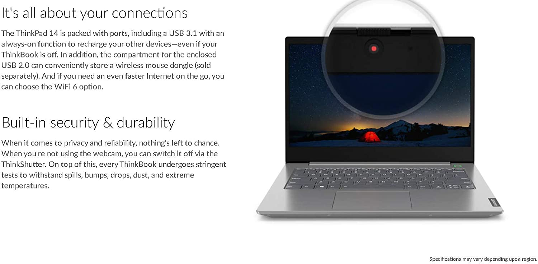 "Lenovo ThinkBook 14-IIL 20SL0015US 14"" Notebook - 1920 x 1080 - Core i5 i5-1035G1 - 8 GB RAM - 256 GB SSD - Mineral Gray - Windows 10 Pro 64-bit - Intel UHD Graphics - in-Plane Switching (IPS) Te"