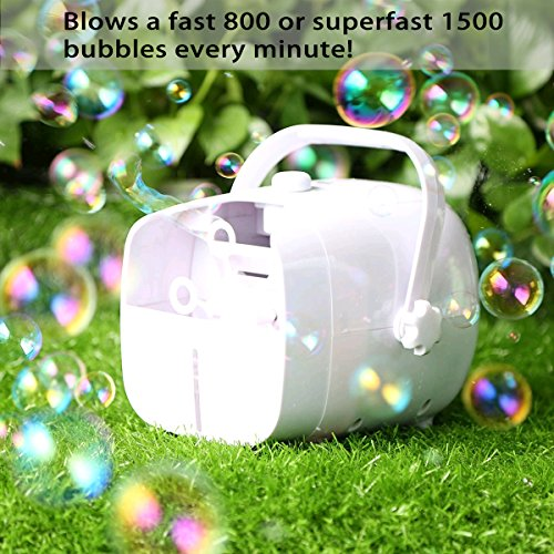 1byone Bubble Machine, Automatic Bubble Blower for kids, Powered by Plug-in or Batteries, Outdoor/Indoor Use, Two Bubbles Blowing Speed Levels
