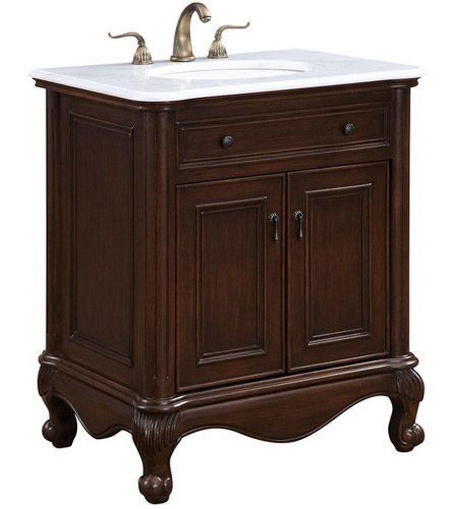 Elegant Decor VF-1032 Single Bathroom Vanity Set 30'' Teak/VF-1032