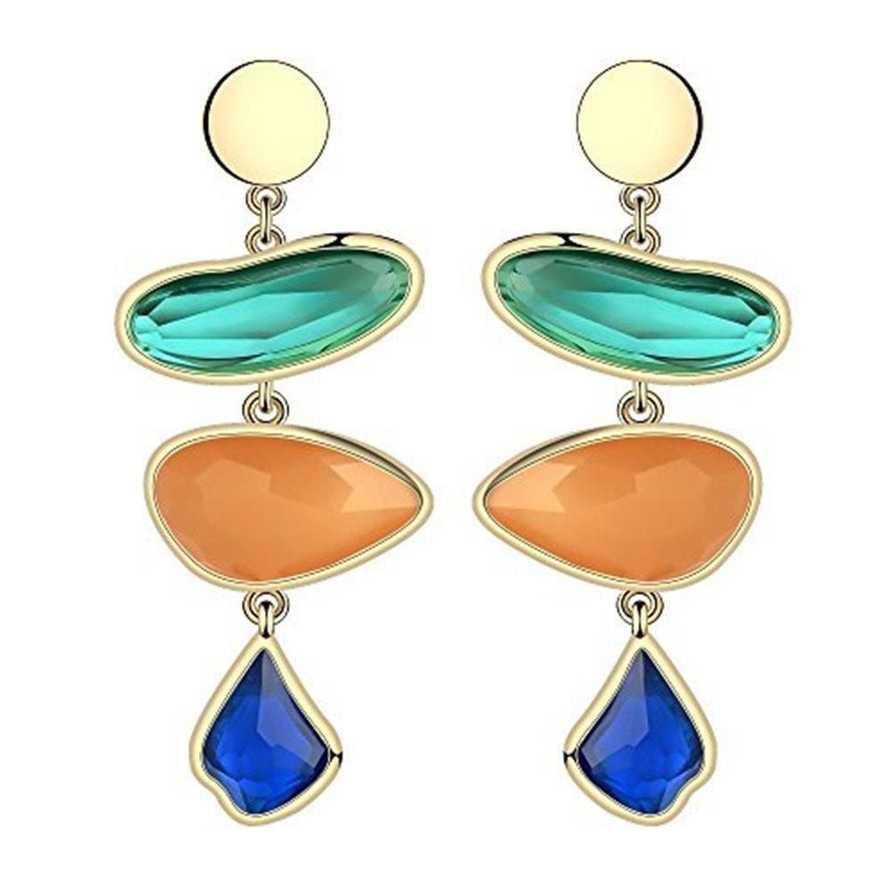 Fashion Creative Colorful Crystal Women Earrings Set Chunky Teardrop Gemstone Drop Dangle for Girls - Style 6