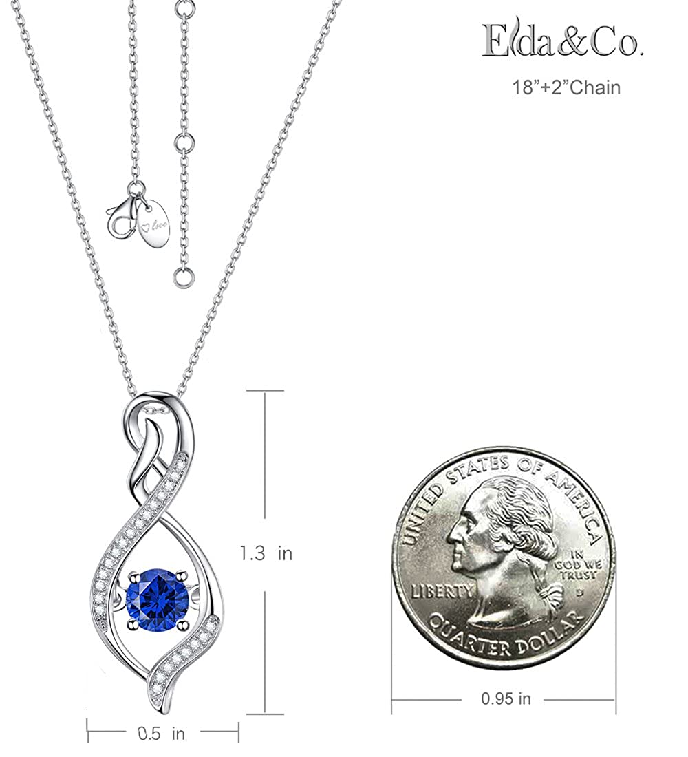 Fine Jewelry Blue Sapphire Necklace ❤️ Forever Love Infinity ❤️ Jewelry Birthday Gifts for Mom Wife Anniversary Gifts for Her Sterling Silver Pendant