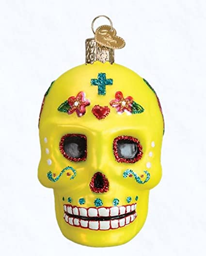 old world christmas sugar skull glass blown ornament - Christmas Sugar Skull