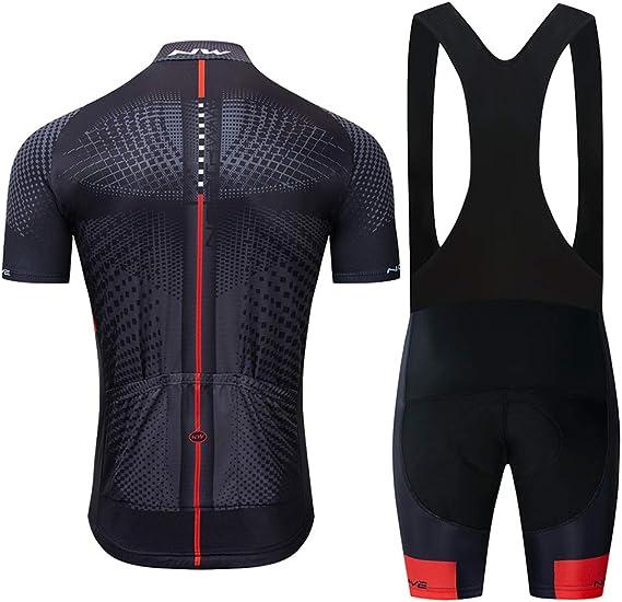 Conjunto Ropa Ciclismo Hombre, Traje MTB Maillot Bicicleta Mangas Cortas+5D Gel Culotte Pantalones Cortos Verano Equipacion Ciclismo: Amazon.es: Deportes y aire libre
