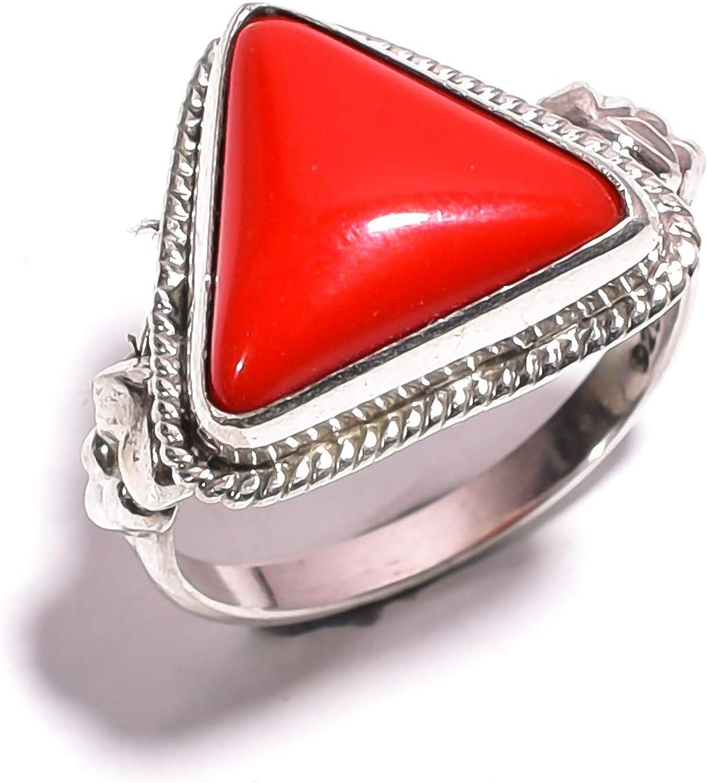 mughal gems & jewellery Anillo de Plata esterlina 925 Anillo Hermoso Natural de la joyería Fina de la Piedra Preciosa del Coral Rojo para Las señoras (tamaño 5.75 U.S)