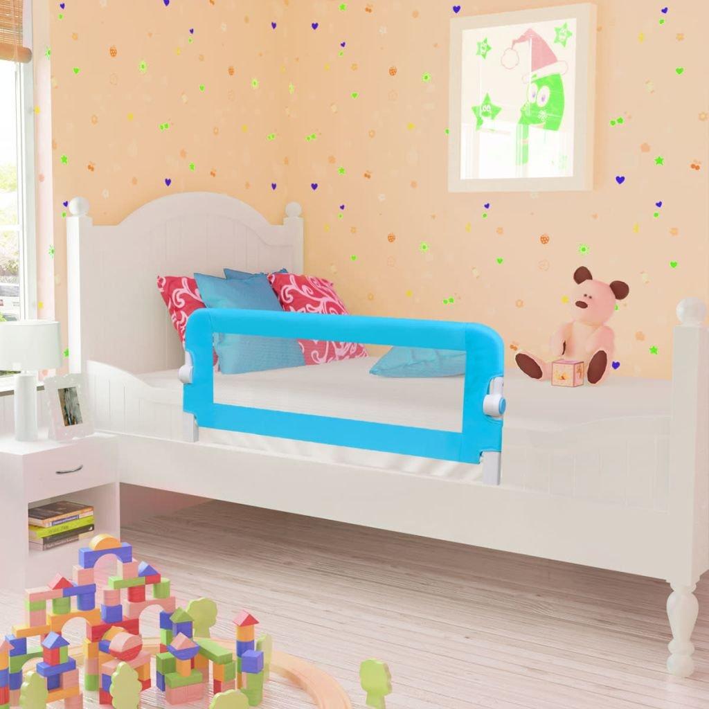 vidaXL Barriera di sicurezza protezione sponda per letto bambino 102 x 42 cm blu