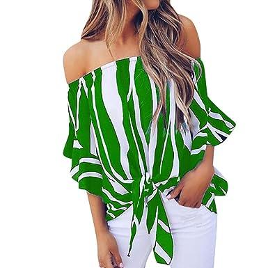 45e281a4ef1 Limsea Women Vest Tops 2019 Fashion Stripe Print Off Shoulder Knotted  O-Neck Flare Sleeve
