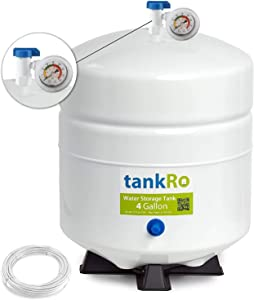 tankRO– RO Water Filtration System Expansion Tank – 4 Gallon Capacity Water Tank - NSF Certified Reverse Osmosis Tank – Compact Water Storage Pressure Tank with Free 1/4