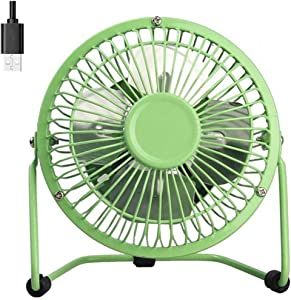 USB Fan 4 Inch Mini USB Desk Table Fan Personal Portable Desktop Cooling Fan Powered by USB PC Netbook for Camping Home Office Outdoor Travel, Strong Wind, Green