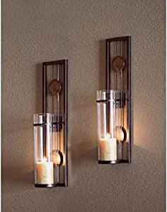 """Candle Wall Sconce Set of 2 and Classic Pillar Real Flame-Effect Flameless LED Candles Set 6"""" X 2.15"""" with Remote and Timer Feature White Color with - Set of 2 Metal Iron Glass Home Decor Room Bronze"""
