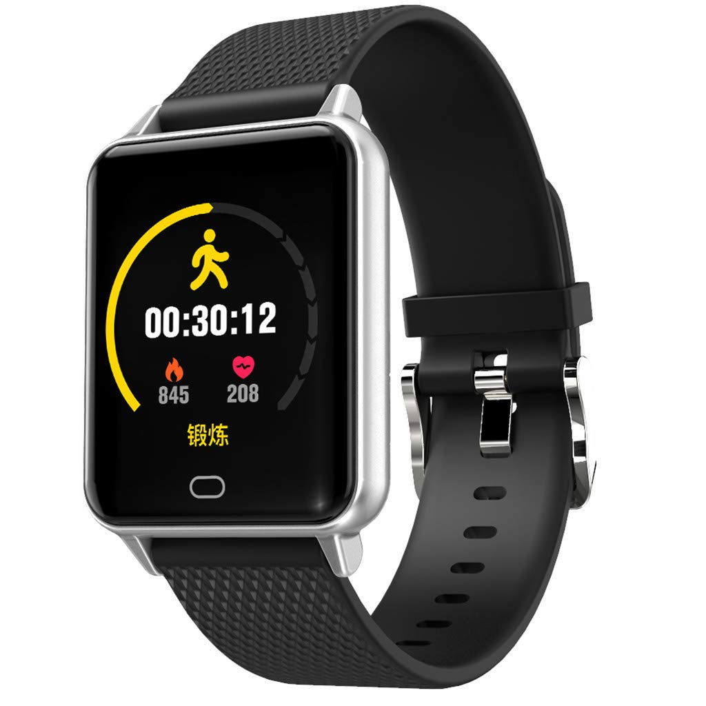 YNAA for Android iOS, Waterproof Smart Sport Watch, Blood Pressure Heart Rate Monitor Remote Photography Smart Bracelet (Black)