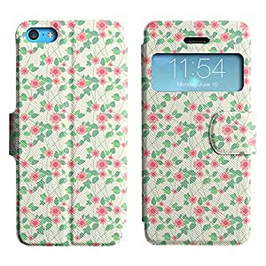 Be-Star Diseño Impreso Colorido Slim Casa Carcasa Funda Case PU Cuero - Stand Function para Apple iPhone 5c ( Flowers With Leaves )