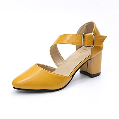 Block Heel Pointed Sandals Slingback Women/'s Casual Mary Janes Shoes Fashion