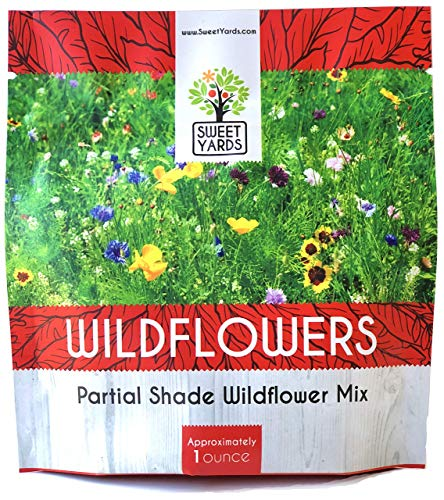 Wildflower Seeds Partial Shade Mix - 1 Ounce Over 7,000 Open Pollinated Annual and Perennial Seeds ()