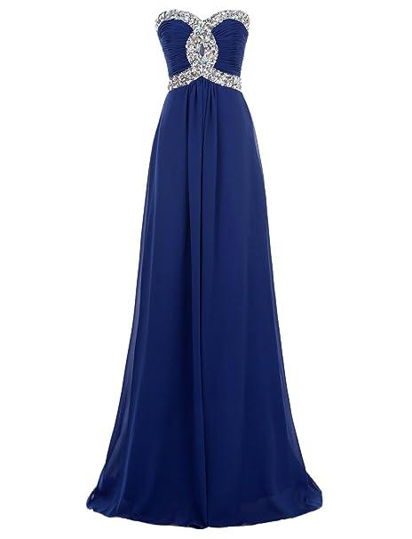 Erosebridal - Vestido largo de noche para baile o fiesta, de gasa azul cobalto 38