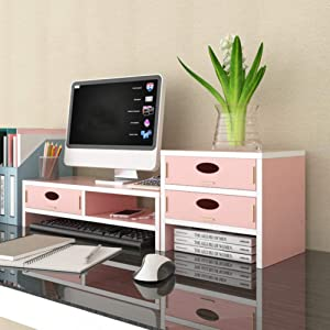 XIAO WEI Desk Monitor Stand,with Drawer Multifunctional Space Saving Desktop Stand Storage Organizer Keyboard Storage