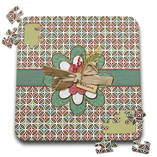 - 3dRose Beverly Turner Christmas Design - Believe, Image of Flower on Ribbon, Berries, and Velvet Bow, Diamond - 10x10 Inch Puzzle (pzl_302960_2)