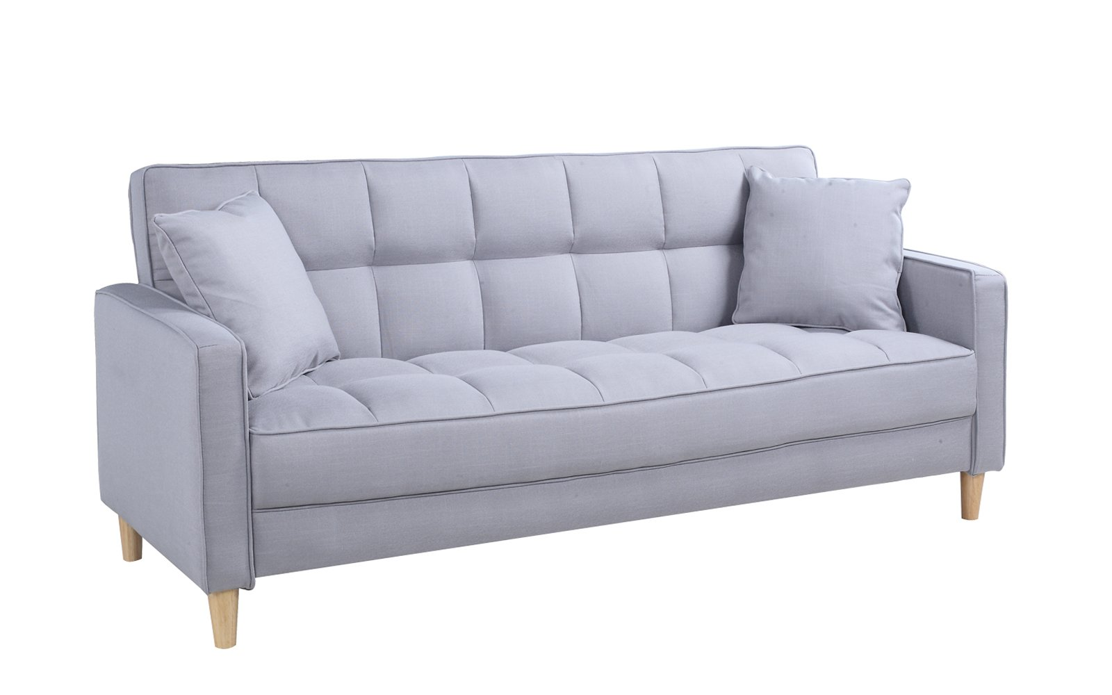 Divano Roma Furniture Modern Sofas, Light Grey - Small space mid-century style with 2 decorative pillows - Perfect for a small living room Tufted fabric upholstery on both, seat and back rest to give it a plush look and feel Available in a large variation of colors to best fit your decor and perfect size for a studio apartment or bedroom lounging - sofas-couches, living-room-furniture, living-room - 61BlZU9tHjL -