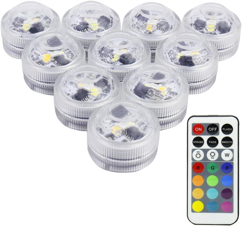 LUXJET® 10er Pack Mini RGB LED Luz Sumergible, Color Cambio, Control Remoto Lámpara Impermeable