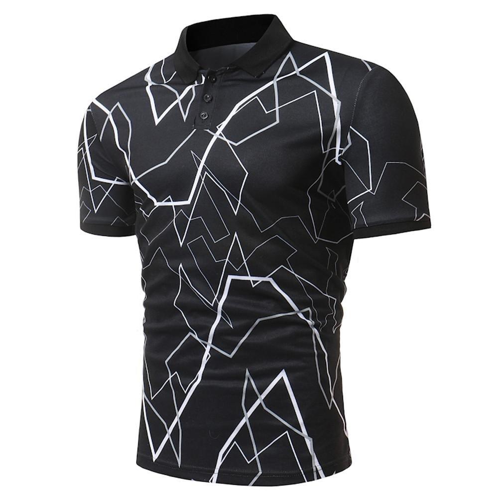 Longra Herren Poloshirt Poloshirt Kurzarm Polohemd Druckblusen Tops Sommer T-Shirt Mens Polo Shirt Kurzarmshirt Slim Fit T-Shirt Basic Shirts Freizeit Stehkragenhemd  L|Black