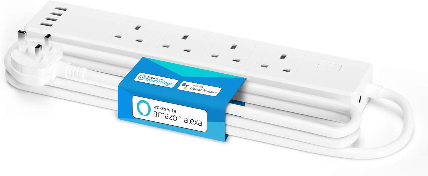 WiFi Smart Power Strip with 4 AC 4 USB Ports Meross Smart Power Strip Remote Control Work with Alexa Google Assistant