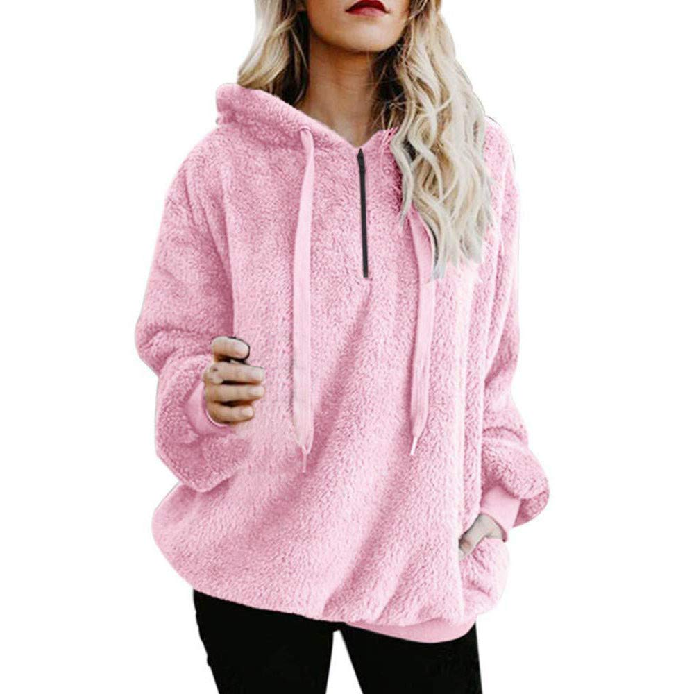 Womens Hoodies Sweatshirts Womens Pullover Hoodie Sunmoot Long Sleeve Oversized Jumper with Pockets Pink