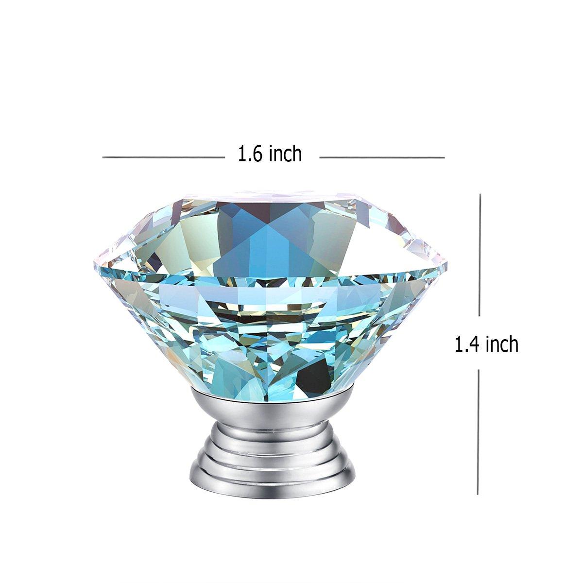 3S 10pcs 40mm Crystal Glass Diamond Shape Cabinet Knob Drawer Pull ...