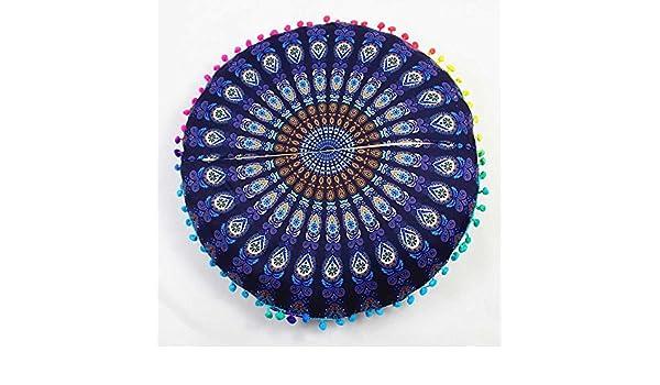 LEEDY - Funda de cojín Redondo con diseño de Mandala India, poliéster, I, Medium