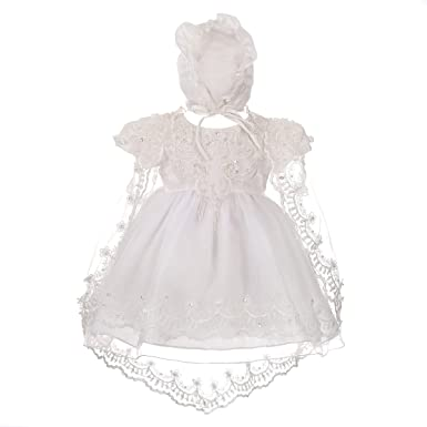 81b553a5c3e0 Dressy Daisy Baby Girls' Beaded Scalloped Embroideries Baptism Christening  Gown Dress with Cape and Bonnet