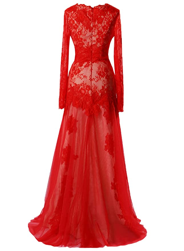 Amazon.com: Ruiyuhong Women\'s Long Red Lace Formal Dress Long Sleeve ...