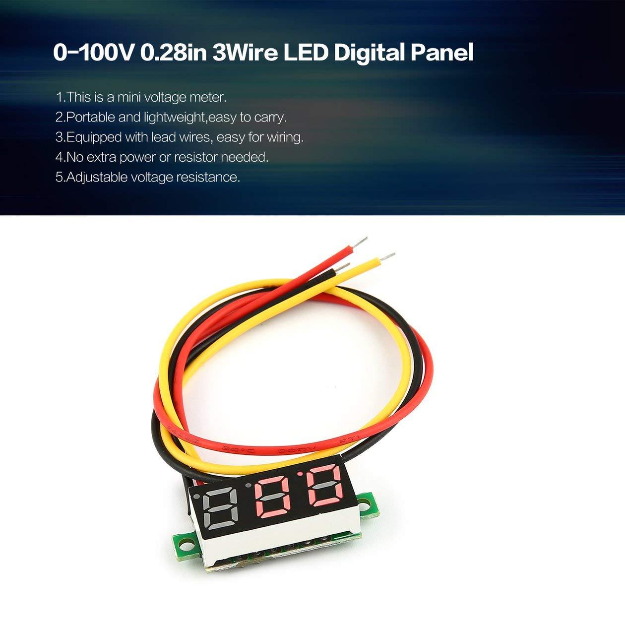 couleur: noir 0-100V 0.28in 3 fil LED Panneau daffichage num/érique Voltm/ètre Voltm/ètre /Électrique Voltm/ètre Testeur pour Auto Batterie Voiture MotorcycleRed