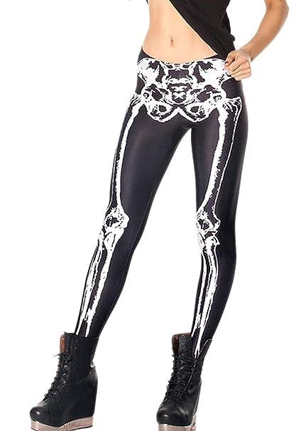 d878dd41bfb86 Tamskyt Women's Fashion Digital Print Black White Skeleton Spandex Leggings  Tights Pants (Black White Sceletons