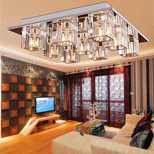 Lightess Chandelier Lighting LED Crystal Ceiling Light Fixtures Modern Flush Mount with 9 Lights in Square Shape by LIGHTESS (Image #2)