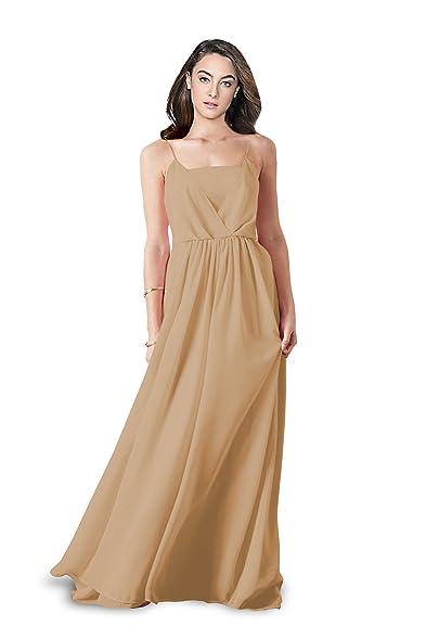 Ssyiz Womens Spaghetti Straps Evening Dress Maxi Chiffon Prom Dresses Custom (6, Apricot)