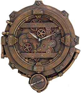 PTC 12 Inch Steampunk Decorative Resin Wall Clock with Thermometer