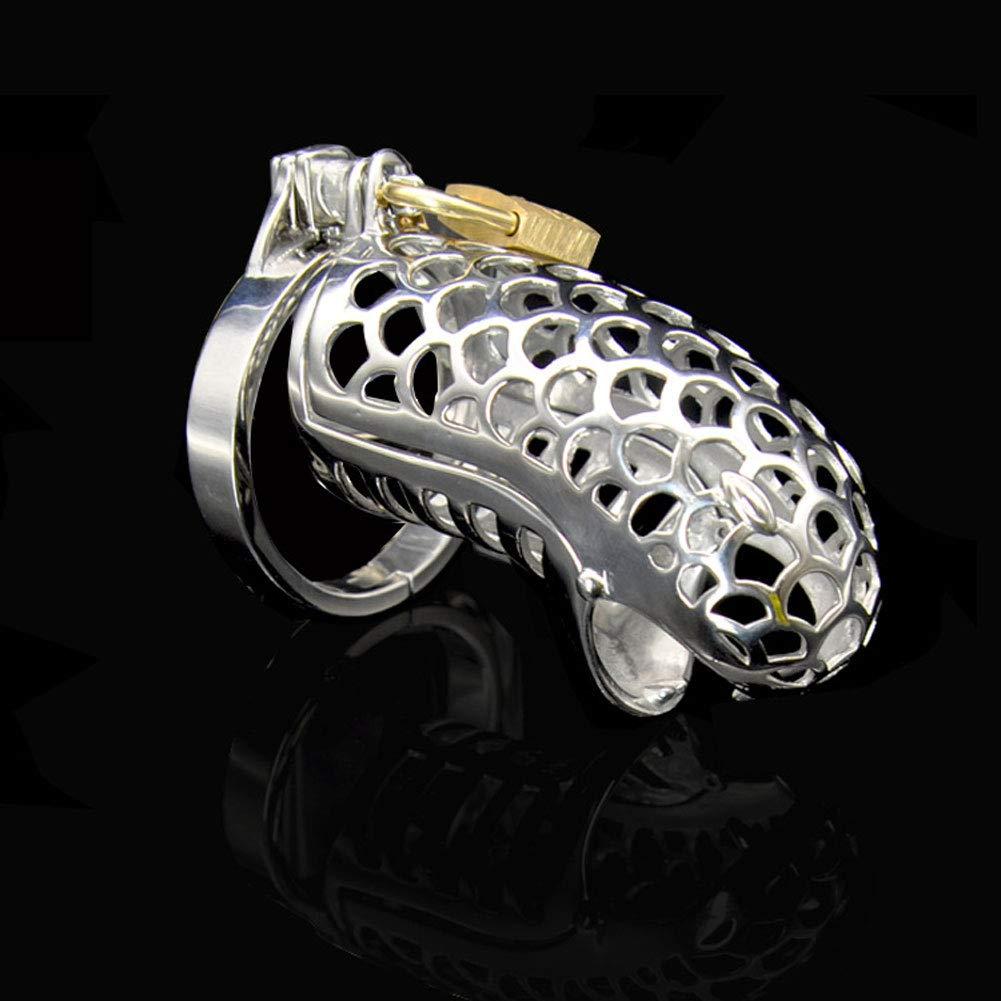 Jaulas de pene Jaula de castidad de metal retención con 3 anillos de retención metal SM (plata) (Tamaño : 48mm) 488cb4