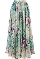 WANGSCANIS Women Floral Maxi Skirts Pleated Chiffon Long Boho Dress