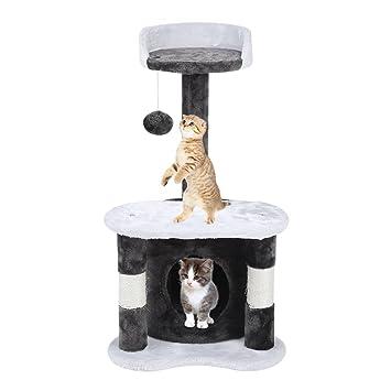 Feketten rascador Gato árbol, 65 cm Cat Tree rascador para Gatos con caseta para Perro, Gris y Blanco: Amazon.es: Productos para mascotas