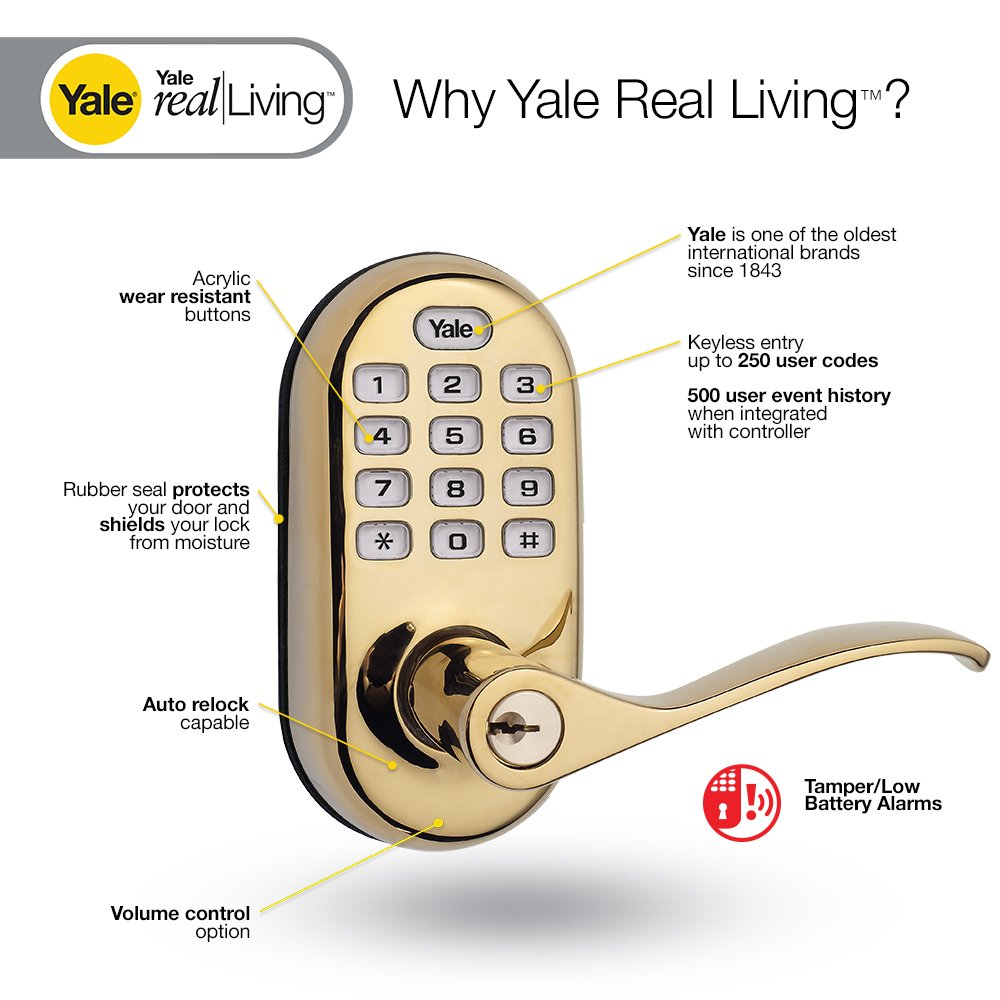 Yale Z-Wave Real Living Keyless Push Button Lever Lock, Works with Amazon Alexa via SmartThings, Polished Brass, YRL210-ZW-605 by Yale Security (Image #3)