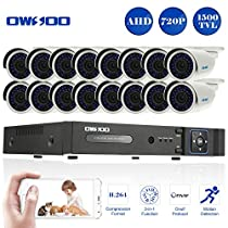 OWSOO 16 Channel H.264 HDMI Full AHD 720P DVR CCTV Network Surveillance Kit with 4x 720P 1500TVL Outdoor/Indoor Infrared Bullet Camera, Support IR-CUT Night Vision Weatherproof Plug and Play