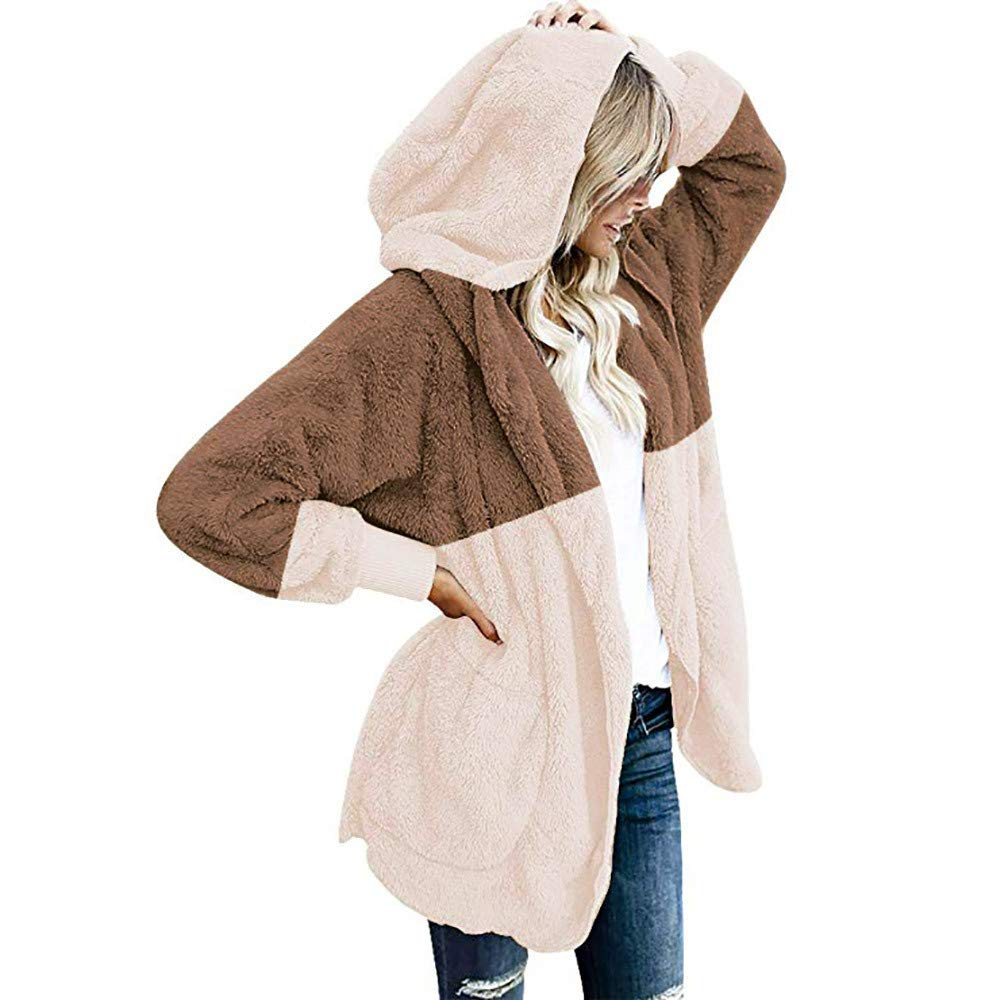 kemilove Women Fuzzy Fleece Jacket Open Front Hooded Cardigan Coat Outwear Pockets kemilove-women clothing