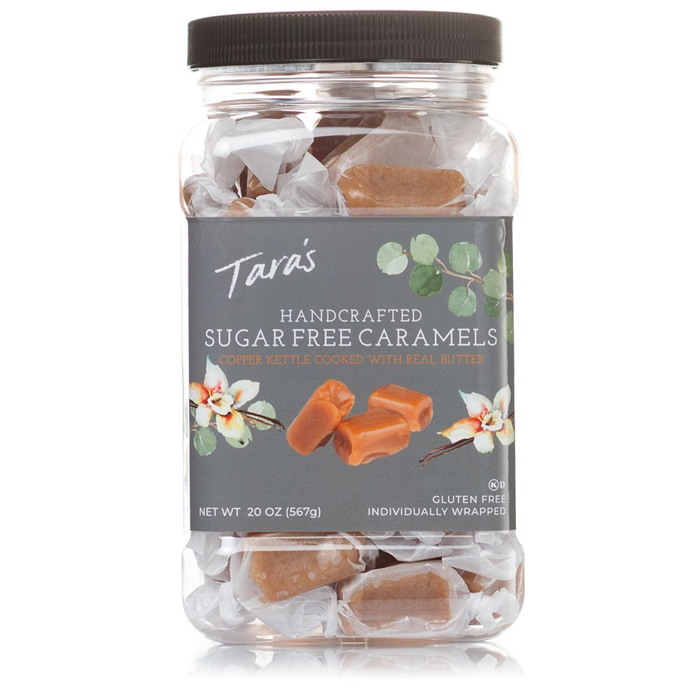 Tara's All Natural Handcrafted Gourmet Caramel: Small Batch, Kettle Cooked, Creamy & Individually Wrapped , Sugar Free 20 Ounce
