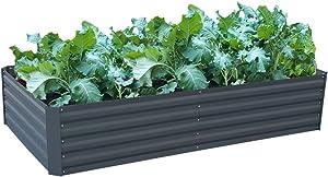 Galvanized Steel Raised Garden Bed Kit Extra Height Elevated Planter Box Steel Large Vegetable Flower Bed Kit (3.3 x 6.6 x 1.3 Ft, Dark Grey)