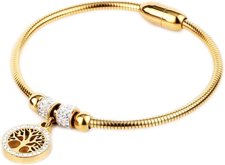 Elastic Bracelet Stainless Steel Rhinestone Magnetic Charms Bracelet for Women Fashion Jewelr