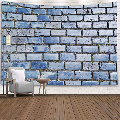 Anucky Tapestries Polyester Fabric for Home Decoration,Wall Hanging Tapestry for Bedroom Blue Cobblestone Old San Street Juan Puerto Rico 80X60 Inch Tapestry Wall Hanging,Pink Green (Furniture Rico Puerto Living)